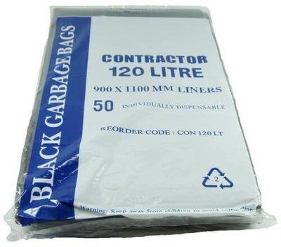 CONTRACTOR BIN LINER 120 LITRE BLACK CTN 200