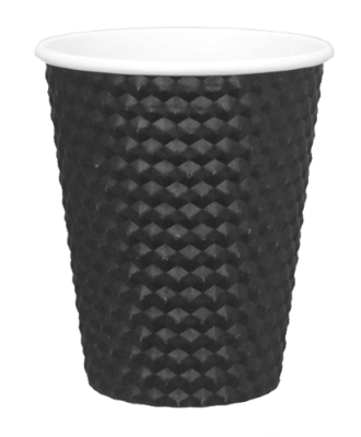 DIMPLE PAPER HOT CUP BLACK DOUBLE WALL 227ml (8oz)