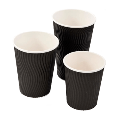 RIPPLE CUPS TRIPLE WALL BLACK 227ml (8oz)