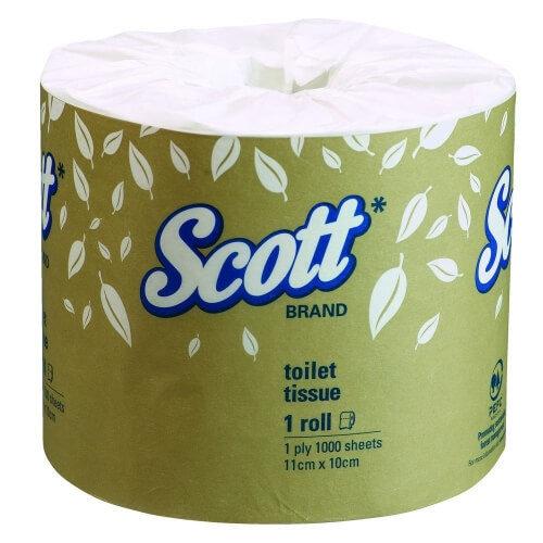 SCOTT 4760 TOILET TISSUE 1 PLY 1000 SHEETS CTN 48