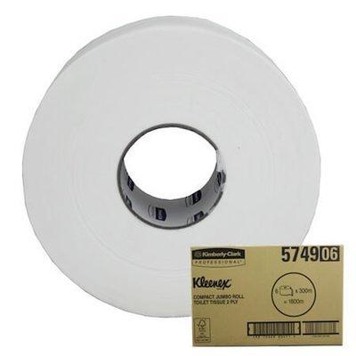 KLEENEX 5749 COMPACT JUMBO TOILET ROLLS 2 PLY 300M CTN 6