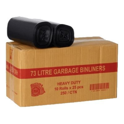 BIN LINER ON A ROLL 73 LITRE HEAVY DUTY BLACK CTN 250