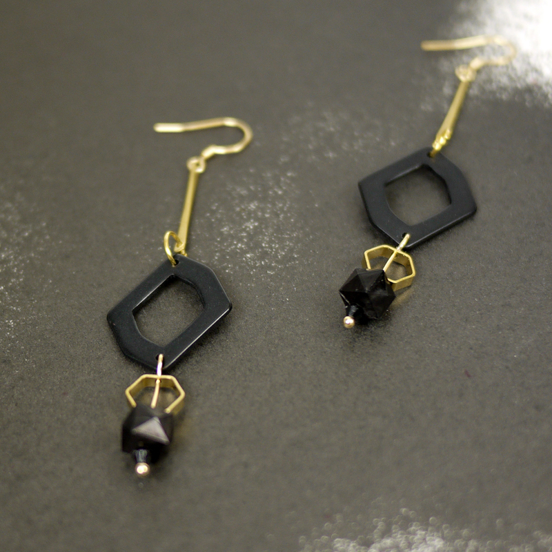 Special offer, sale, graphical, black and gold tone finishing, earrings