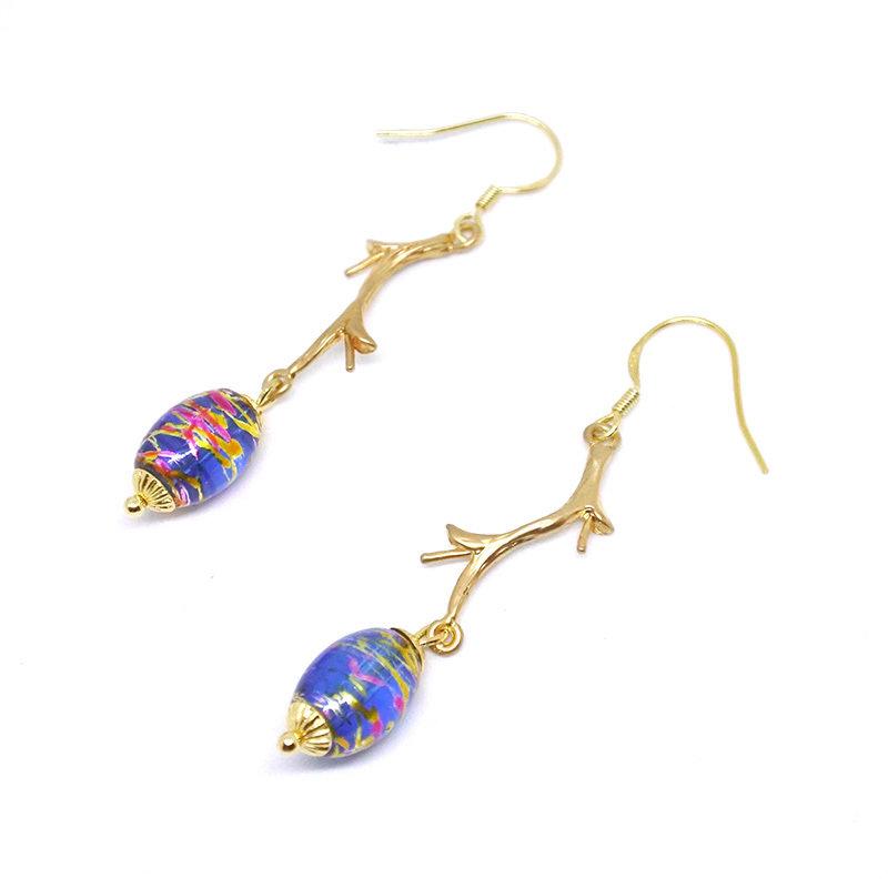 Golden branch — Blue golden breads, long earrings, 925 Golden Hook, gift