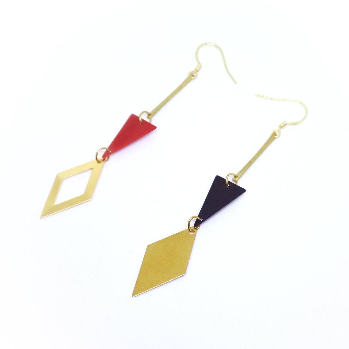 Poker Rhombus — 925 golden hook, copper, long and light weight, fashion earrings