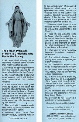 15 Promises of the Rosary Bookmark