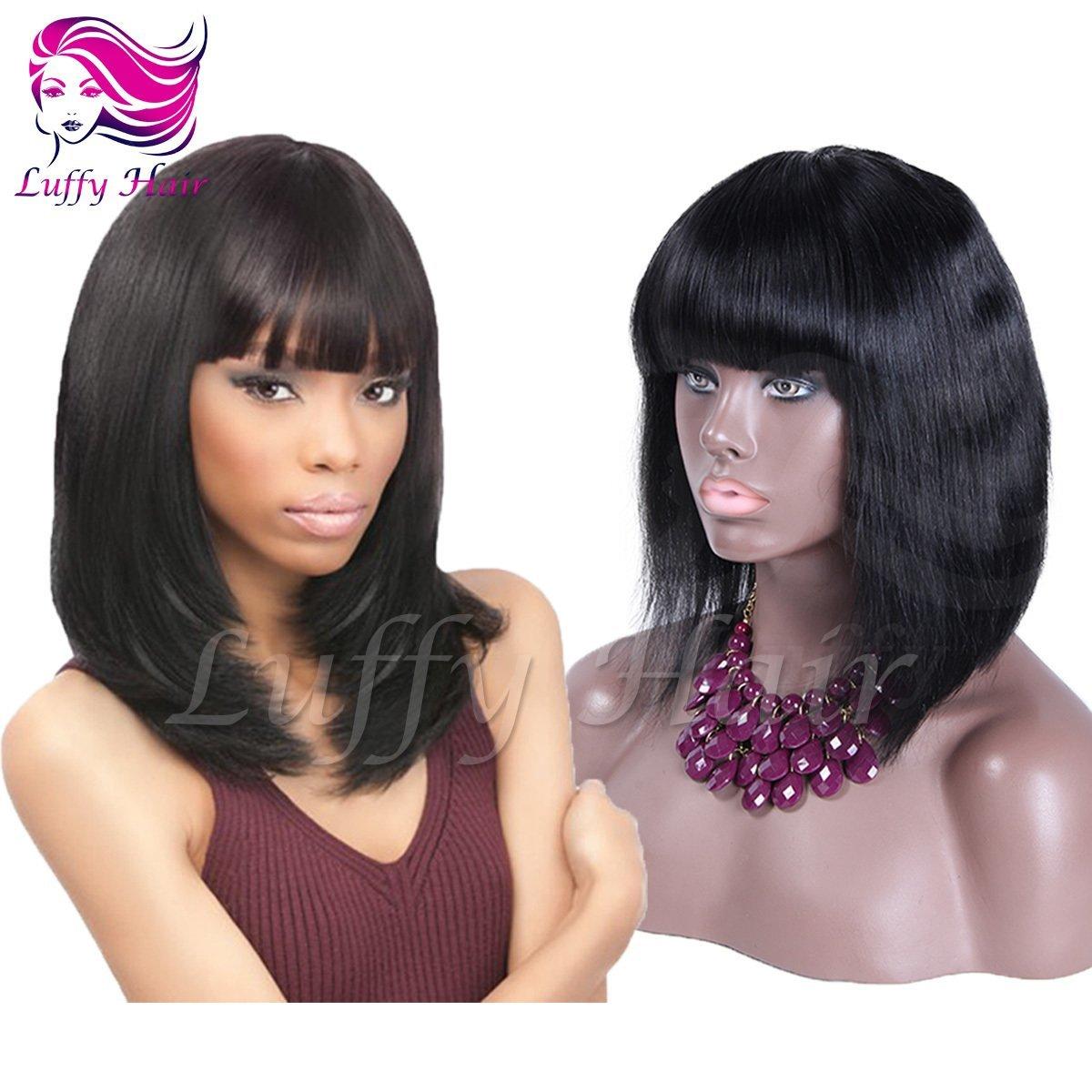 """8A Virgin Human Hair 8""""-14"""" Short Bob Wig With Bangs - KWL015"""