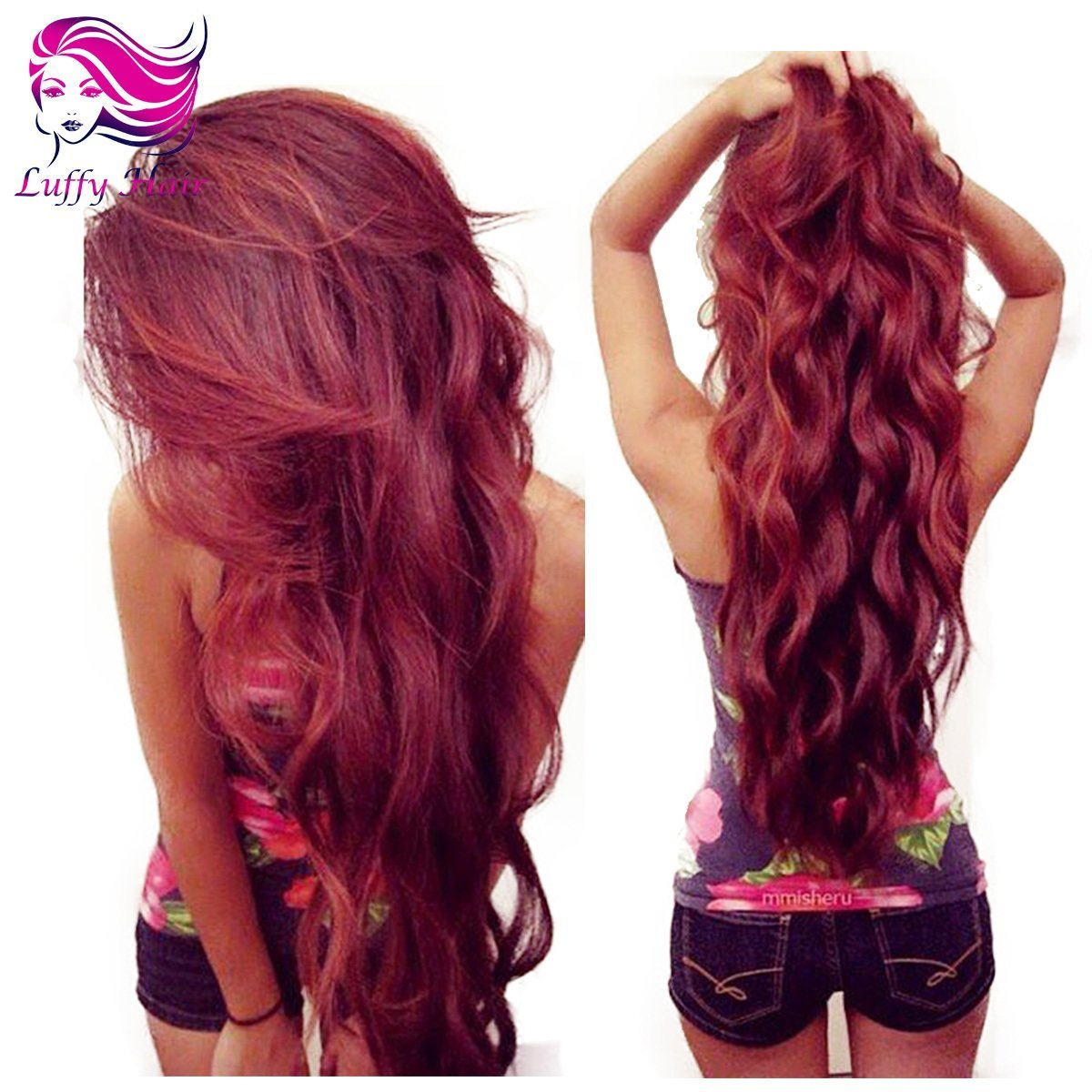 10A Virgin Human Hair Burgundy Body Wave Wig - KWL006