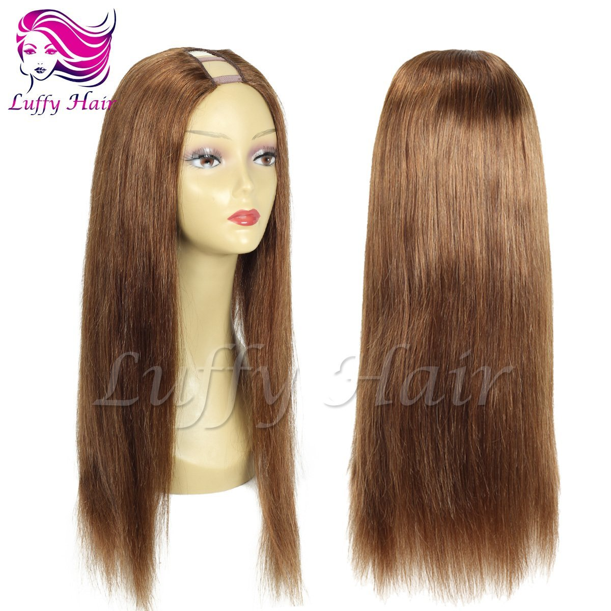 8A Virgin Human Hair Color #6 Silky Straight U Part Wig - KWU067