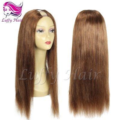 8A Virgin Human Hair Color #6 Silky Straight U Part Wig - KWU067