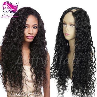 8A Virgin Human Hair 180% Density Curly U Part Wig - KWU001