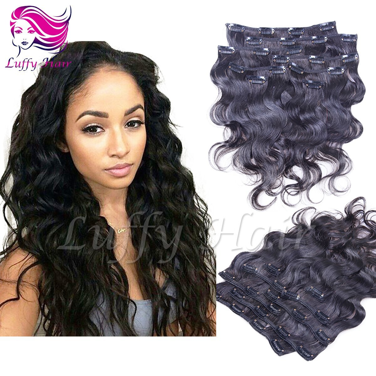 8A Virgin Human Hair Body Wave Clip In Hair Extensions - KIL005
