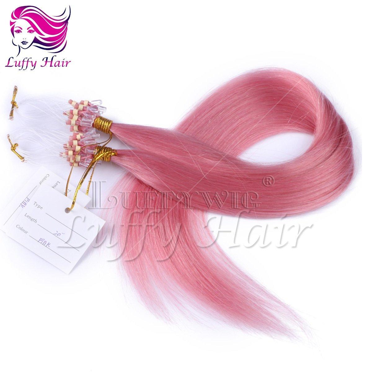 10A Virgin Human Hair Color #Pink Silky Straight Micro Loop Ring Hair Extensions - KML007