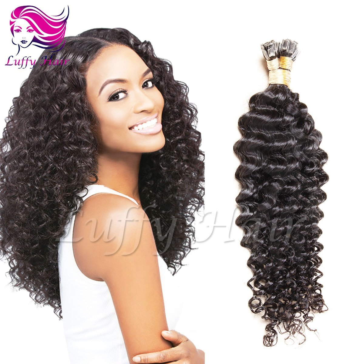 8A Virgin Human Hair Curly Fusion Hair Extensions - KFL005