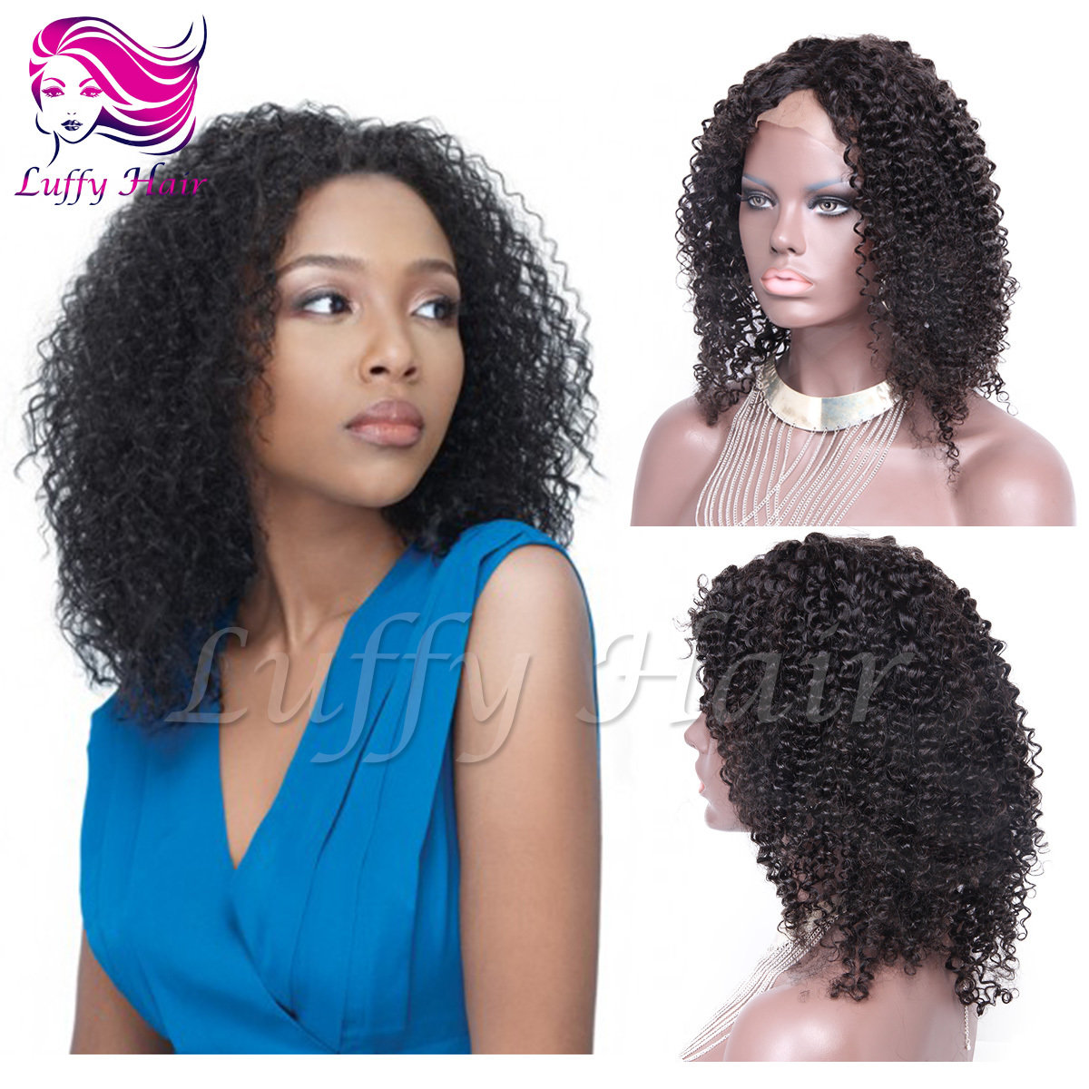 8A Virgin Human Hair Kinky Curly Wig - KWL051