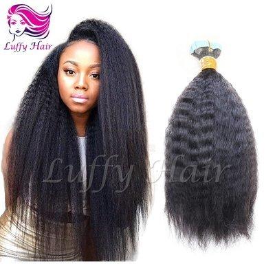 8A Virgin Human Hair Kinky Straight Tape In Hair Extensions - KTL009