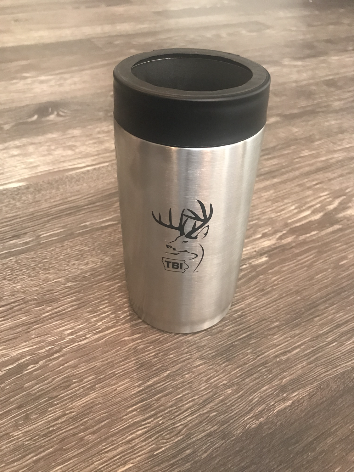 Grizzly Stainless/Black Can Cooler 16oz (tall boy)