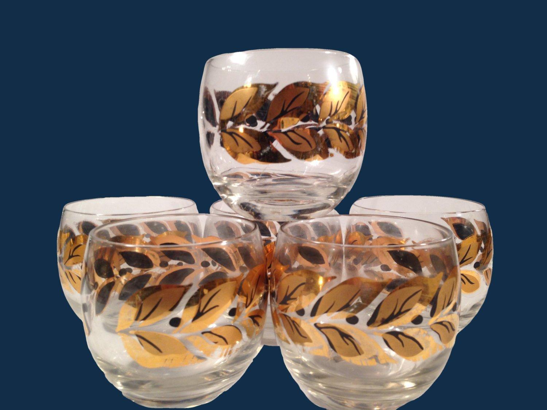 Roly Poly Glasses Gold & Black Laurel Leaves Mid Century Barware