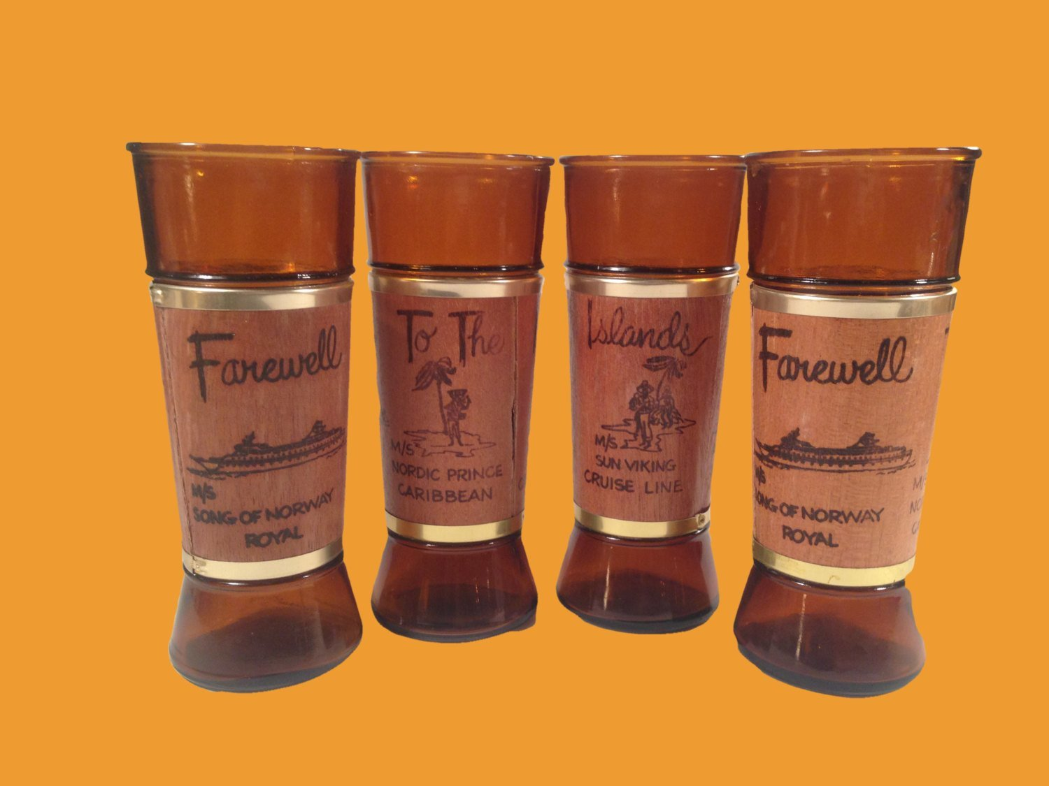 Tiki Style Glasses Siesta Ware Cruise Ship Souvenir Farewell to the Islands Royal Caribbean Glasses set of 4