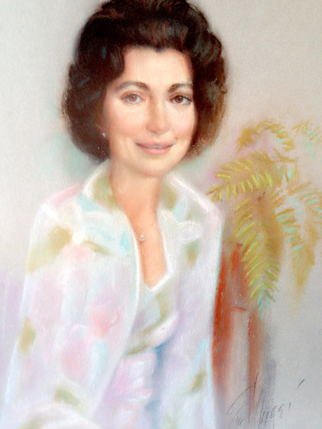 Pastel Portrait of an Unknown Woman Signed and Dated 1978