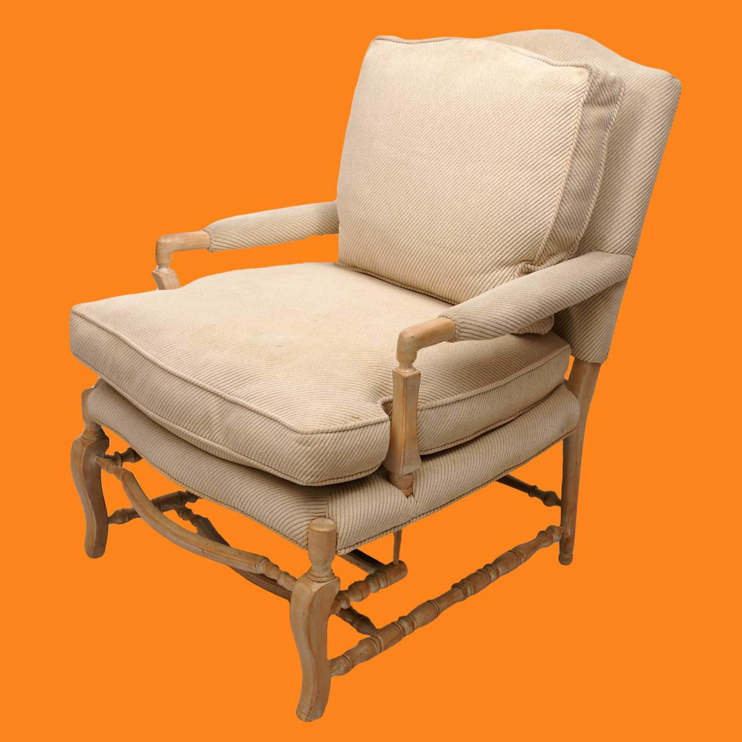 Off White Upholstered Chair Whitewashed Wood Frame