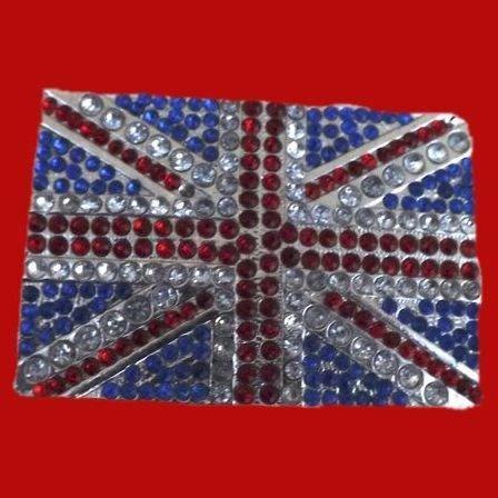 Vintage British Union Jack Belt Buckle Blinged Out with Rhinestones