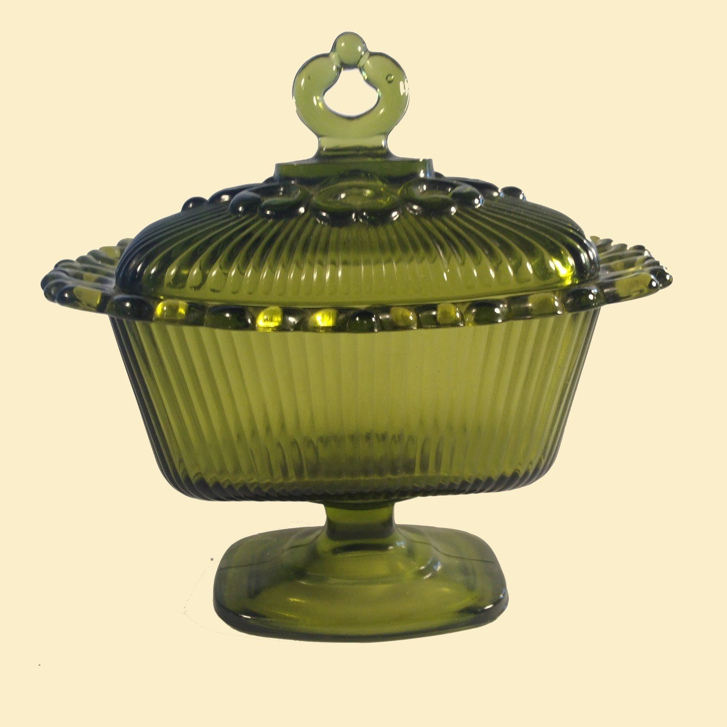 Green Glass Pedestal Candy Dish or Compote Indiana Glass