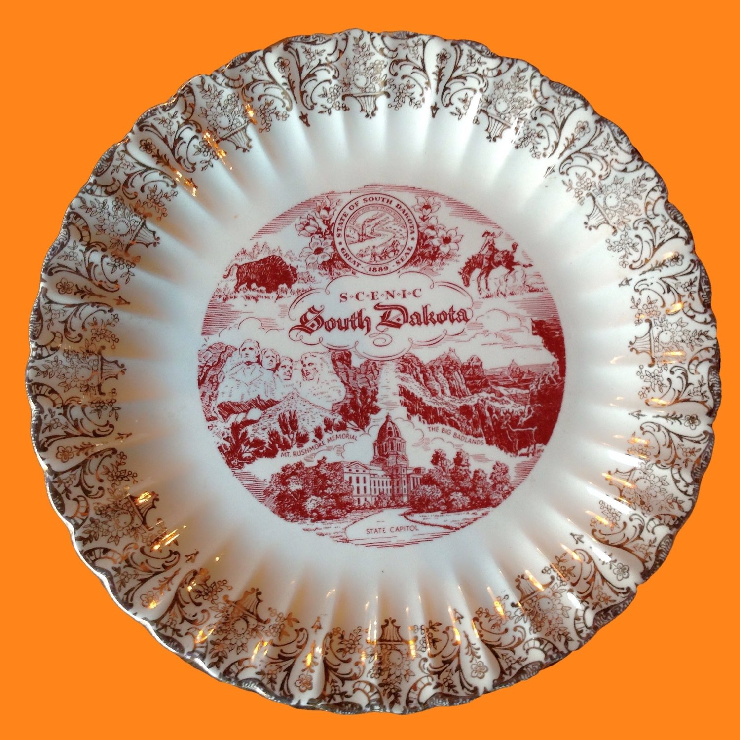South Dakota Souvenir Place Plate State Plate Decor or Tableware
