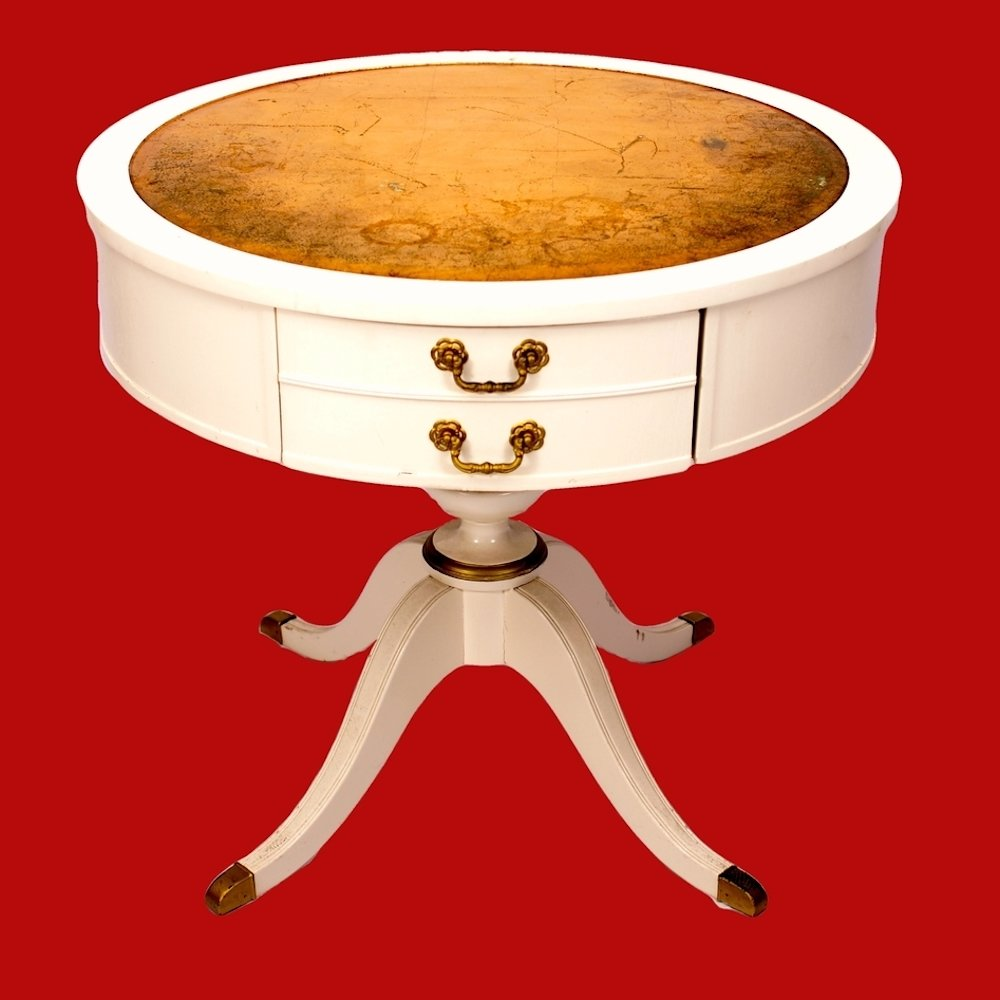 White Drum Pedestal Table with Gold Top Federal Style