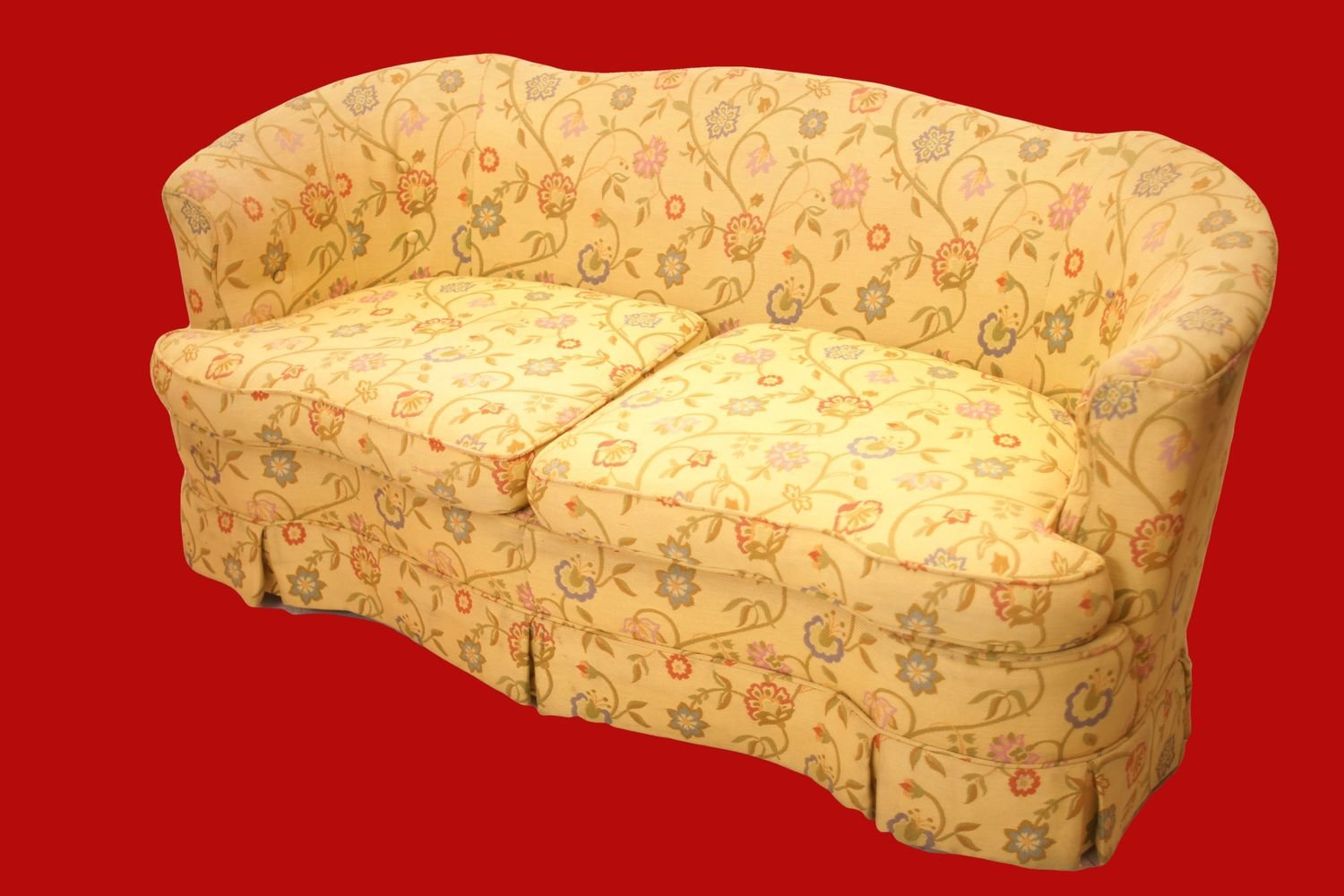 Yellow Love Seat with Floral Upholstery