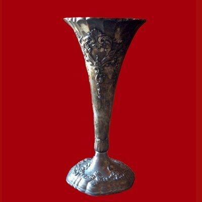 Silver Plated Trumpet Vase Art Nouveau Style