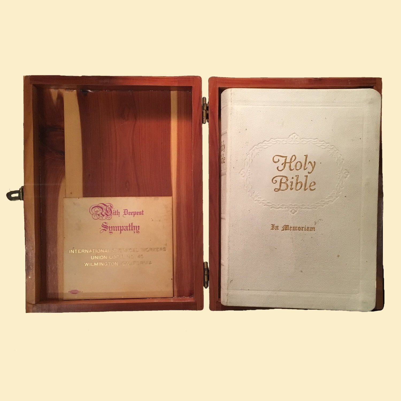 Bible Box - 1958 International Chemical Workers Bible in Cedar Box