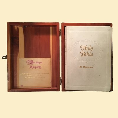 Bible Box - 1958 International Chemical Workers Bible in Cedar Box