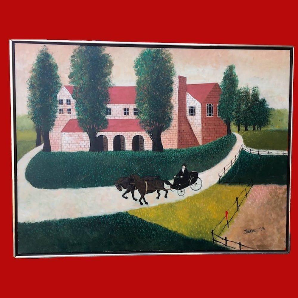 Large Folk Art Painting signed Jane '78 Oil on Canvas