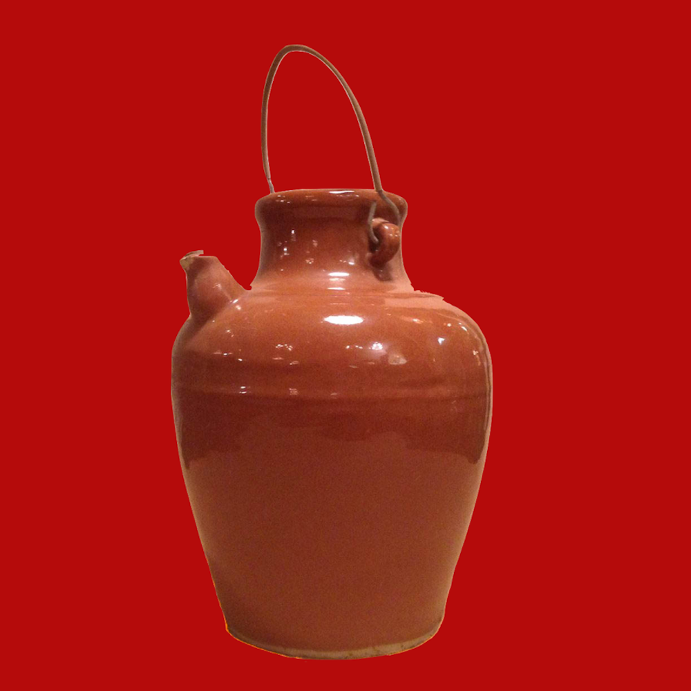 Stoneware Olive Oil Jug with Small Spout