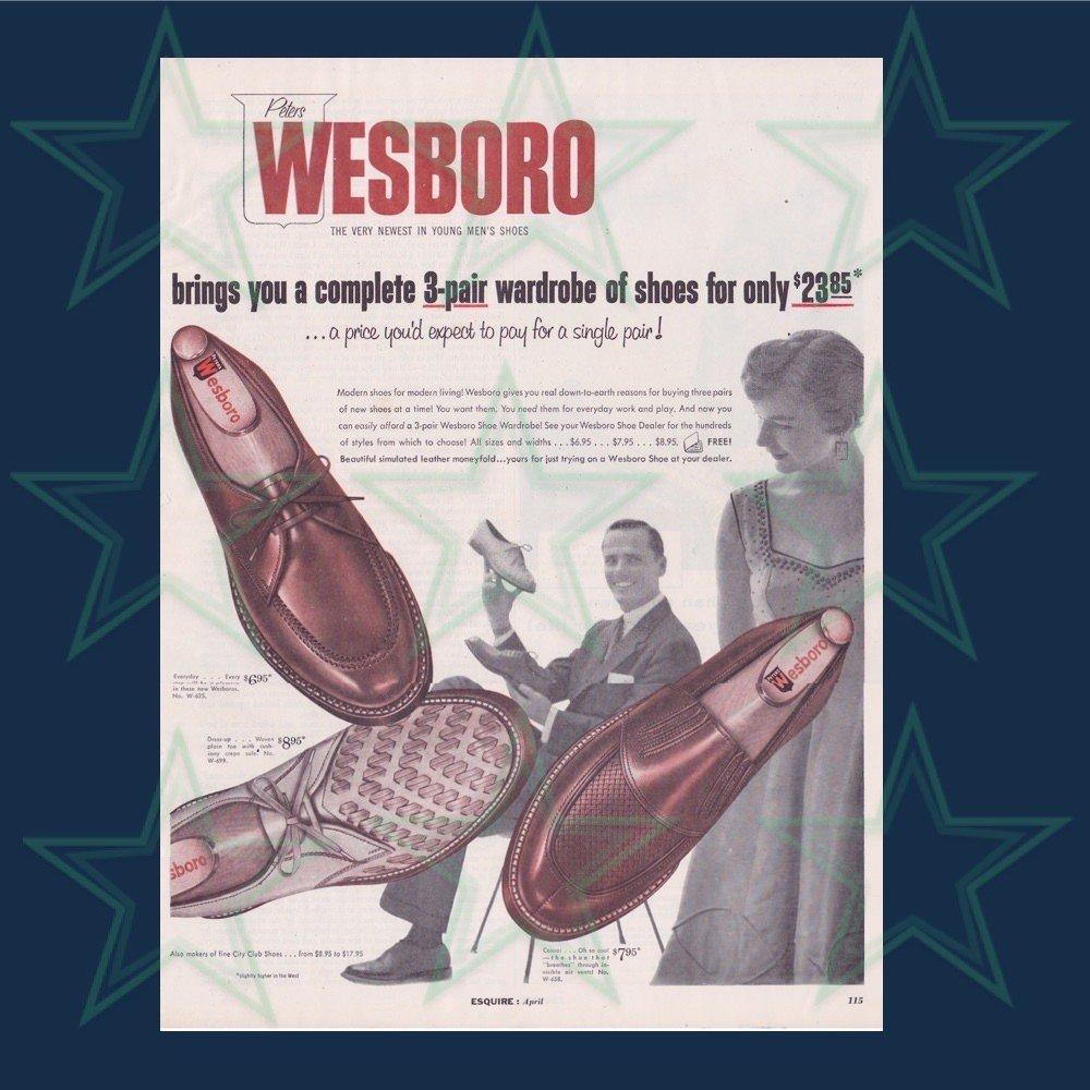 Wesboro Men's Shoes Ad 1950's