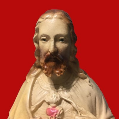 Tall Chippy Chalkware Sacred Heart of Jesus Statue