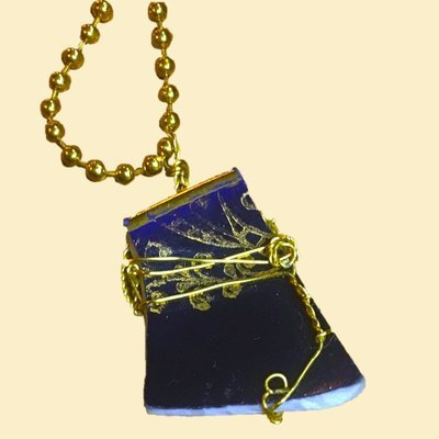 Royal Blue and Gold Wire Wrapped Broken China Necklace