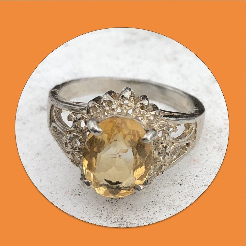 Vintage Yellow Topaz Sterling Silver Filigree Ring