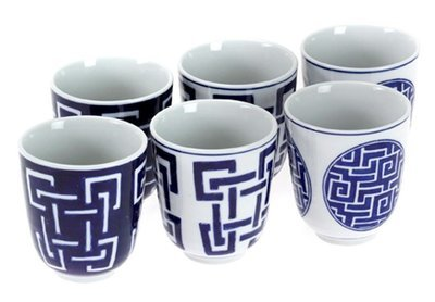 Chinese Blue cups SML (set of 6 assorted)
