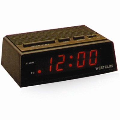 Westclox LED Digital Alarm Clock, Wood grain Finish 22690