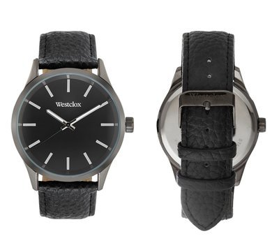 Westclox Watch with Genuine Black Leather Band and Black Dial