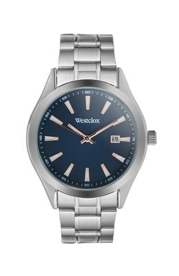Westclox Watch with Silver Tone Metal Band, Date, and Blue Dial