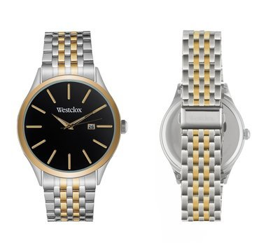 Westclox Watch with Two Tone Metal Band, Date, and Black Dial