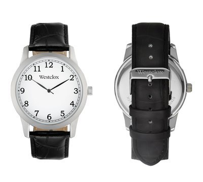 Westclox Watch with Genuine Black Leather Band and Easy to Read White Dial