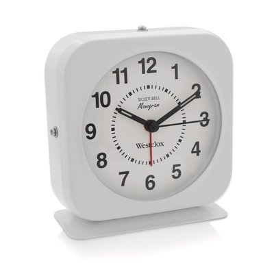 Westclox Square White Metal Quartz Analog Alarm Clock