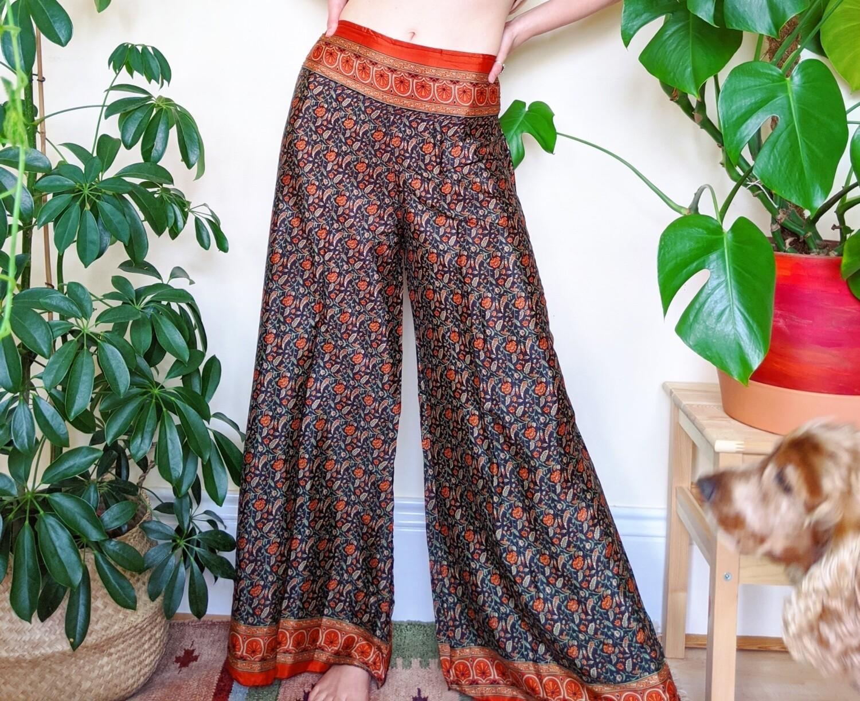 INDIAN SARI SILK PLAZZO PANTS (S/M)