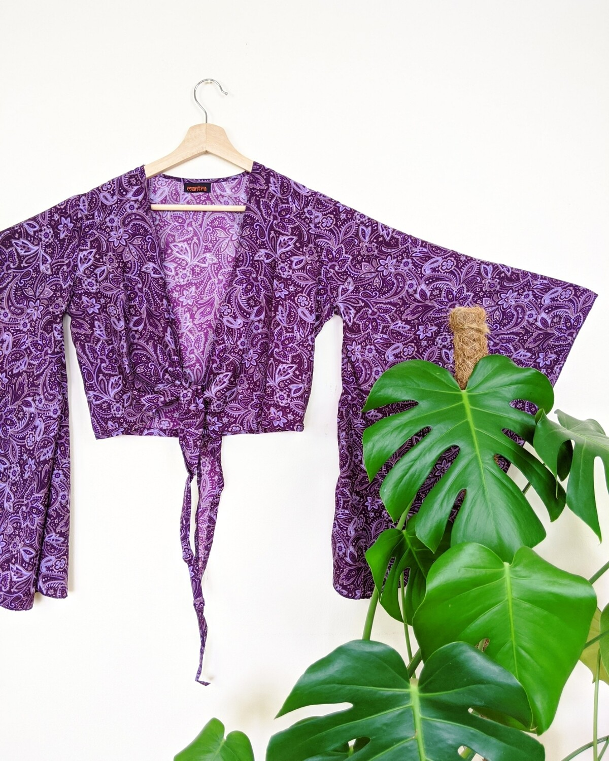 PURPLE PAISLEY BUTTERFLY SLEEVE WRAP TOP