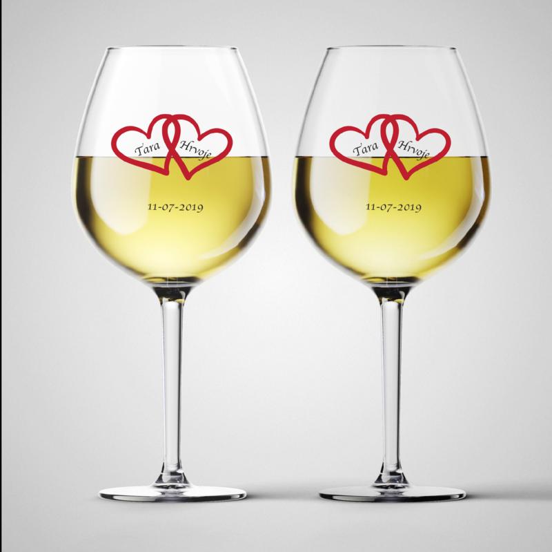 Komplet čaša za vino Hearts