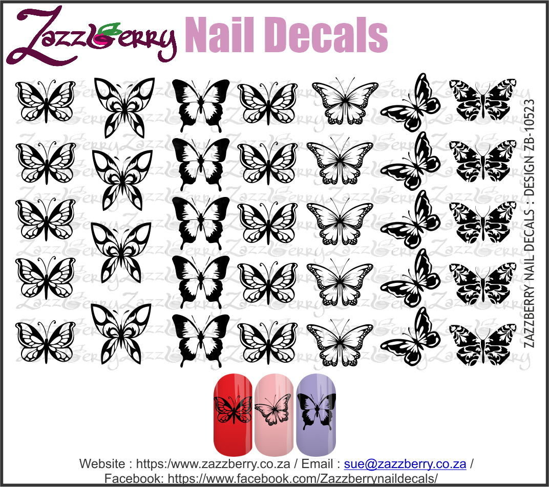 Butterflies  (Black/White/Foil)